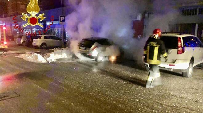 interventi dei pompieri primo dell'anno 2021 auto fiamme e incidente ferroviario