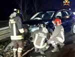 scontro auto lurago d'erba in serata auto distrutte provinciale