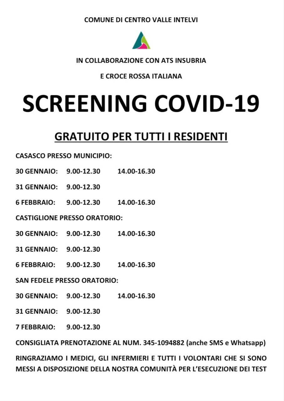 tabella per luoghi ed orari screening gratuito ai residenti comune centro valle intelvi