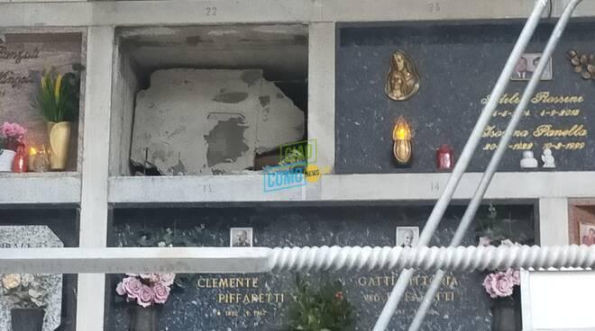 tomba rotta cimitero di monte olimpino zona palombari transennata