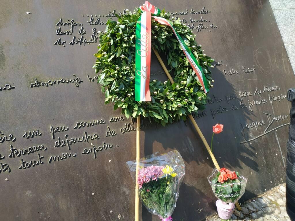 25 aprile Como omaggio monumento resistenza europea Parlamento