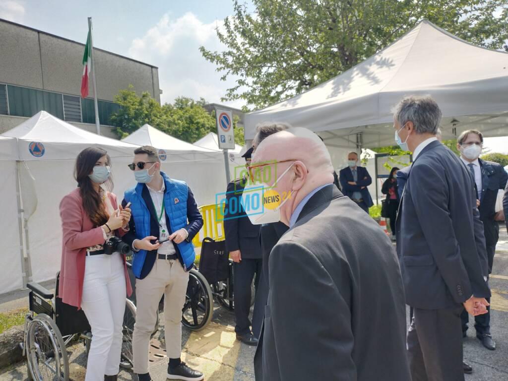 La visita di Attilio Fontana a Lariofiere di Erba per hub vaccinale ed a Cernobbio
