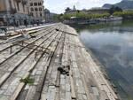 lavori al via porto di sant'agostino a como operai ruspa scalinata porto