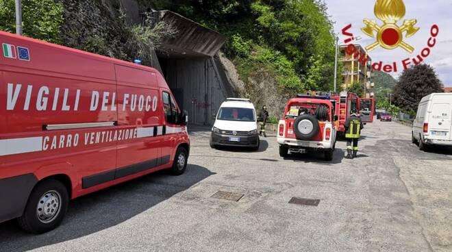 principio incendio caverna acsm sotto baradello quadro elettrico pompieri in zona
