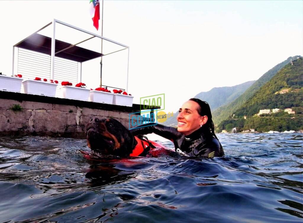 cane recupera ragazza in difficoltà nel lago simulazione cinofini e bibo sub villa olmo