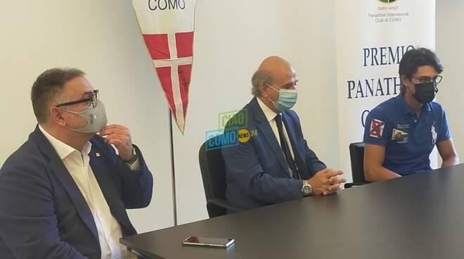 Giulio Campioni e Martina Rizzelli premio panathlon giovani como 2020 con stancanelli ceriani e santoro