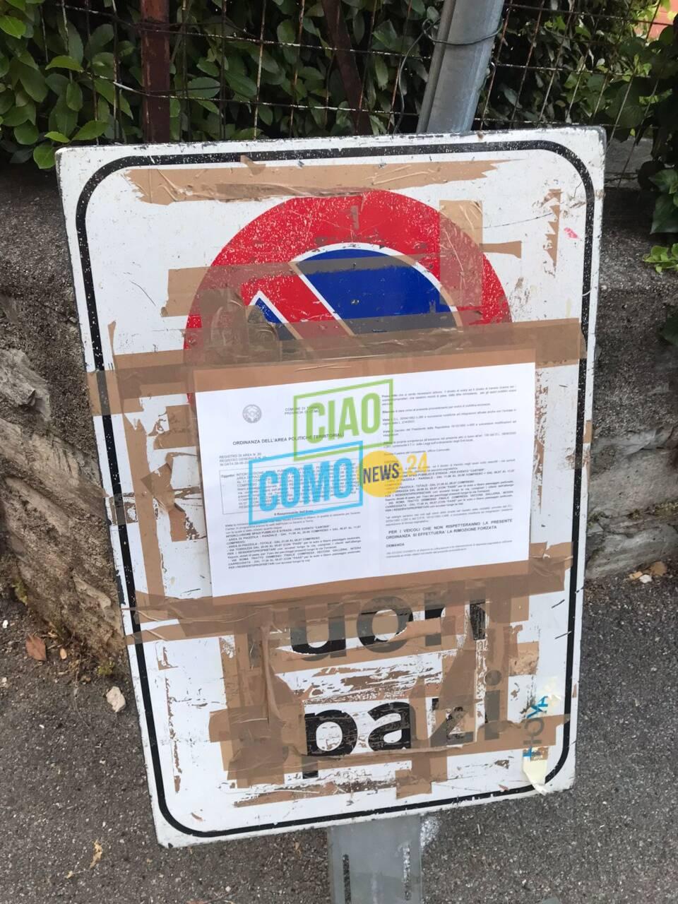 piazzetta torno e cartelli chiusura strada per il Sereno evento cartier