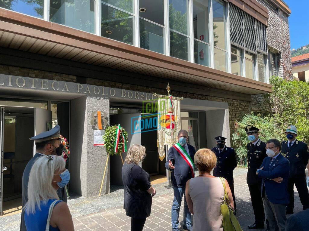 cerimonia biblioteca di como per ricordo giudice borsellino sindaco ed autorità