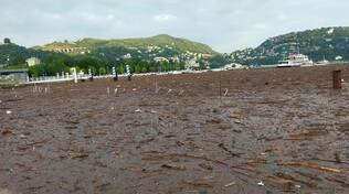 lago ricoperto di detriti nel primo bacino oggi como