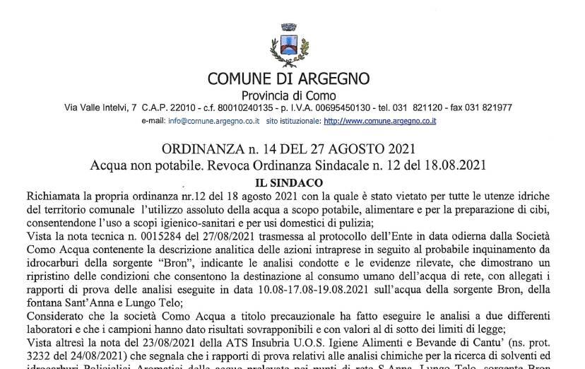 ordinanza sindaco argegno revoca divieto uso di acqua dei rubinetti