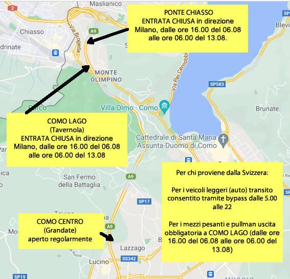 tabella riassuntiva chiusura autostrada e limitazioni
