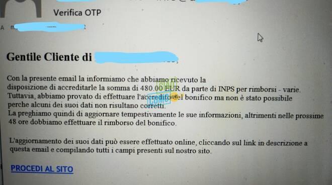 mail truffatori su posta per avere dati dei clienti