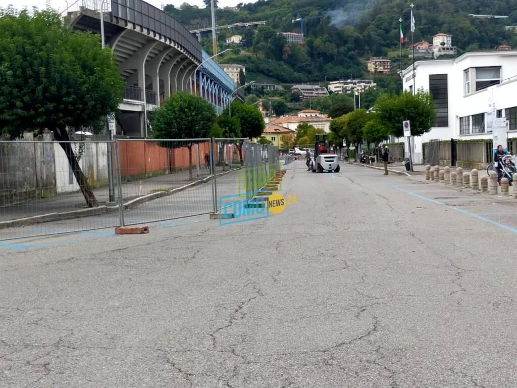 centomiglia del lario a como preparativi e limitazioni sosta auto attorno allo stadio