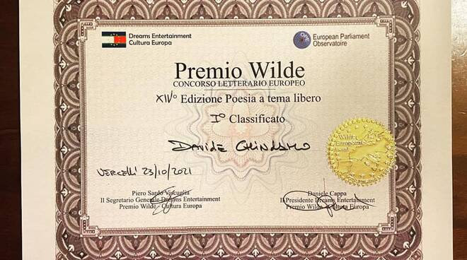 Davide Chindamo vince premio Wilde
