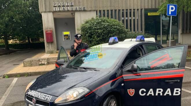 rapina poste vighizzolo di cantù soldi recuperati da carabinieri auto fuori poste